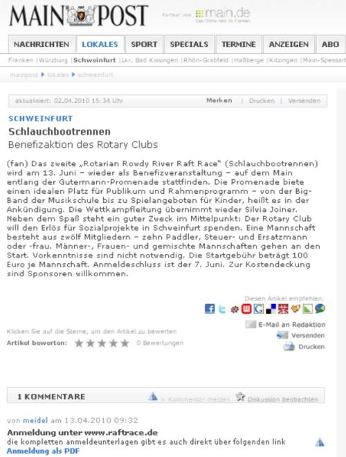mainpost termin 13.6.2010 schlauchbootrennen