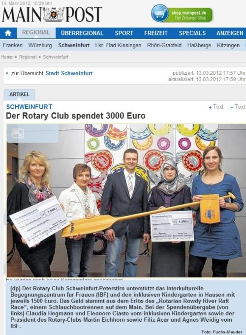 Spendenübergabe an inklusiven Kindergarten und IBF